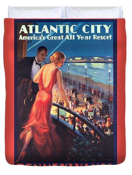 Atlantinc City - America's Great All Year Resort - Vintage Poster Restored Duvet Cover