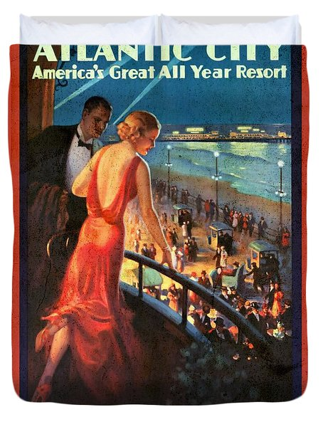 Atlantinc City - America's Great All Year Resort - Vintage Poster Vintagelized Duvet Cover