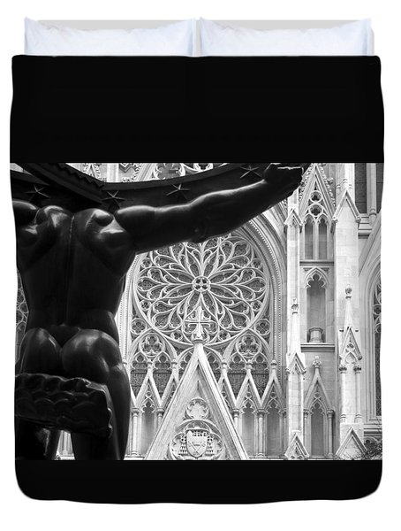 Atlas And St. Patrick's Cathedral Duvet Cover by Michael Dorn