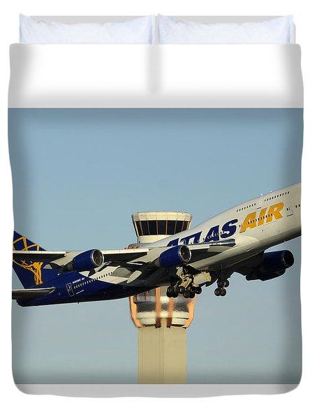 Atlas Boeing 747-446 N465mc Phoenix Sky Harbor January 3 2015 Duvet Cover