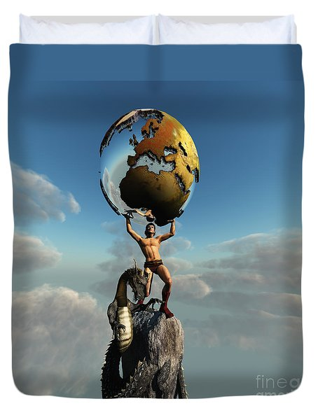 Atlas Greek God Duvet Cover by Corey Ford