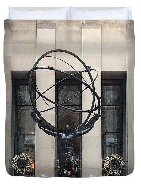 Atlas Statue Duvet Cover