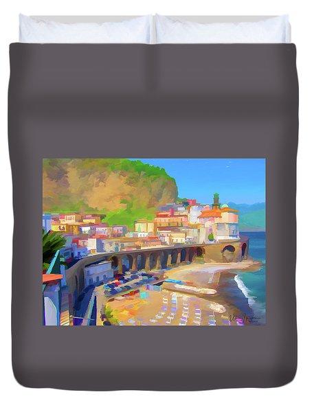 Atrani Italy 01 Duvet Cover by Wally Hampton