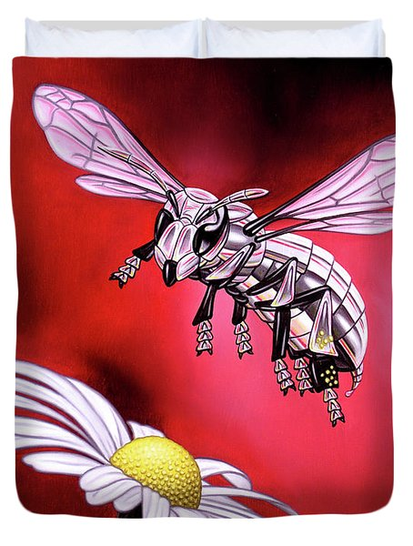 Attack Of The Silver Bee Duvet Cover