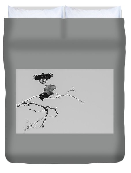 Duvet Cover featuring the photograph Attack On A Buzzard by Carolyn Dalessandro