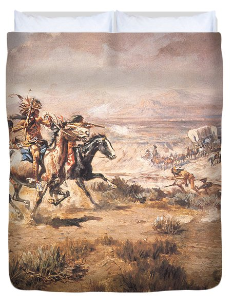 Attack On The Wagon Train Duvet Cover