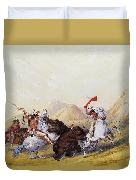 Attacking The Grizzly Bear 1844 Duvet Cover