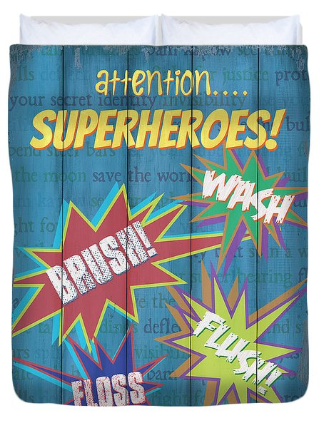 Attention Superheroes Duvet Cover