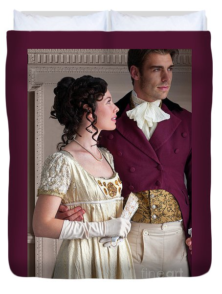 Attractive Regency Couple Duvet Cover
