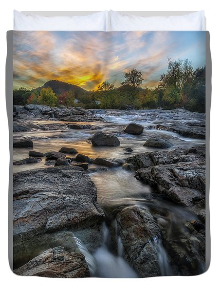 Duvet Cover featuring the photograph Auasble River Sunset by Mark Papke