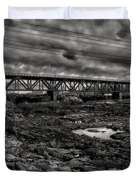 Auburn Lewiston Railway Bridge Duvet Cover by Bob Orsillo