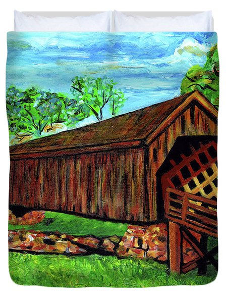 Auchumpkee Creek Covered Bridge Duvet Cover