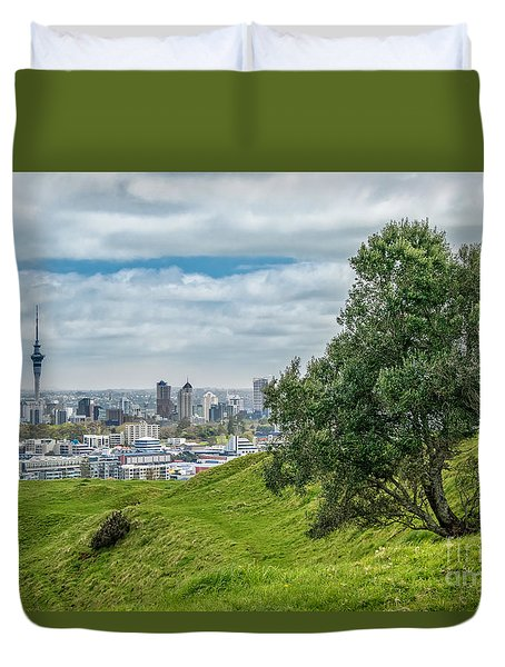 Auckland Skyline Duvet Cover by Martin Capek
