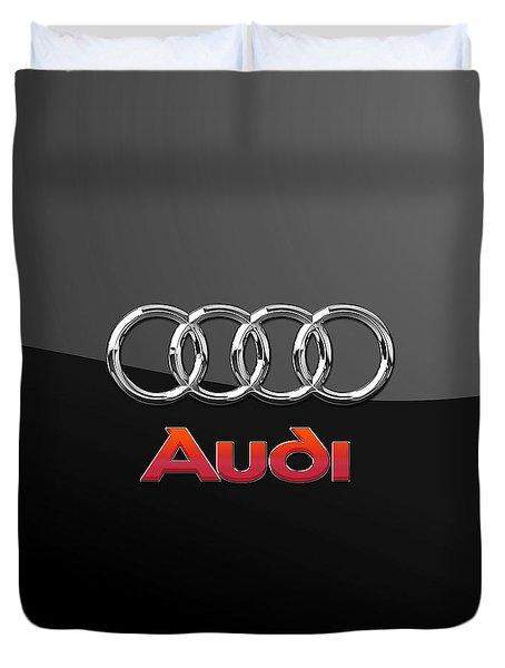 Audi 3 D Badge On Black Duvet Cover