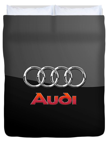 Audi 3 D Badge On Black Duvet Cover by Serge Averbukh