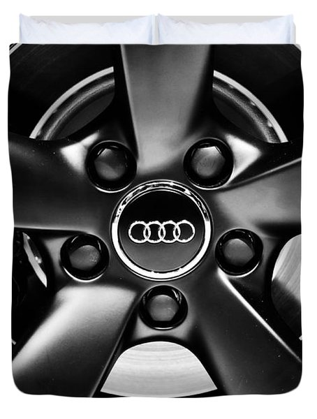 Audi Wheel  Monochrome Duvet Cover by Rachel Cohen