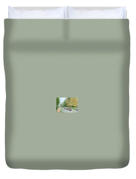 Audlem Lock, Shropshire Union Canal Duvet Cover by Peter Farrow
