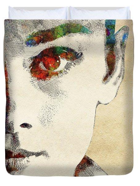 Audrey Half Face Portrait Duvet Cover by Mihaela Pater