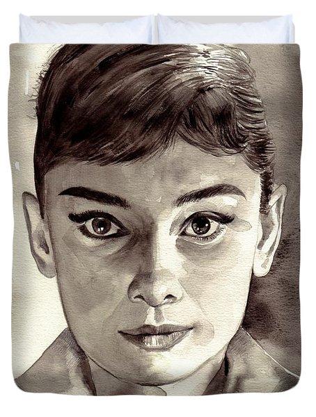 Audrey Hepburn Black And White Duvet Cover