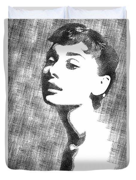 Audrey Hepburn Bw Portrait Duvet Cover by Mihaela Pater