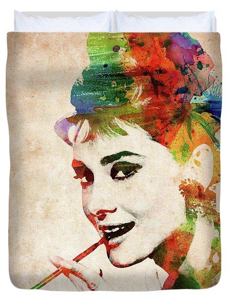 Audrey Hepburn Colorful Portrait Duvet Cover