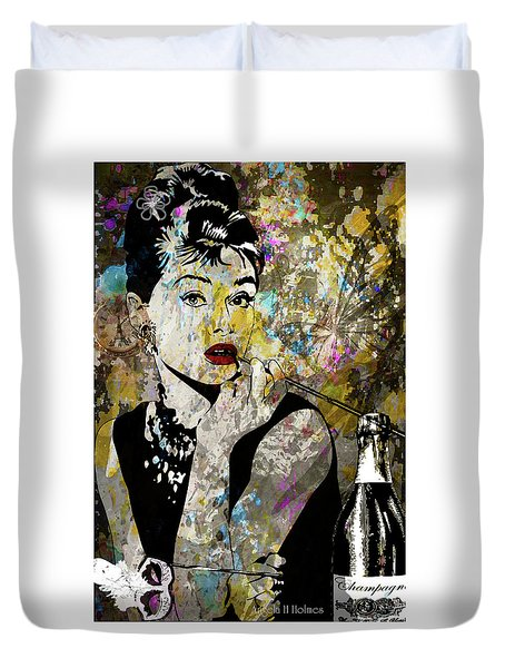 Audrey Hepburn Tribute  Duvet Cover by Angela Holmes