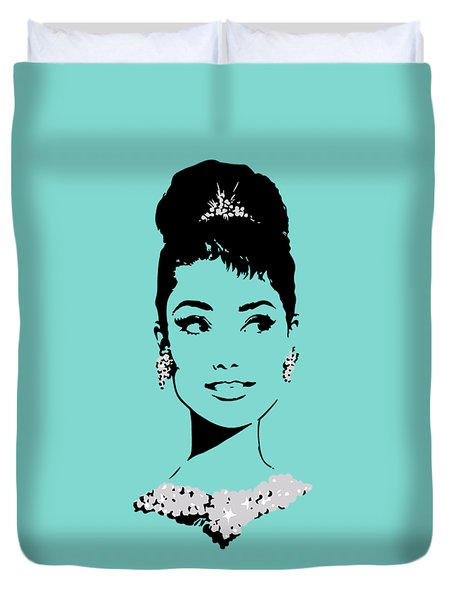 Audrey In Tiffany Blue Duvet Cover by Rene Flores