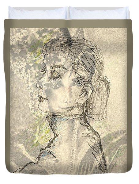 Audrey Two -- Portrait Of Audrey Hepburn Duvet Cover