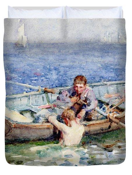 August Blue Duvet Cover by Henry Scott Tuke