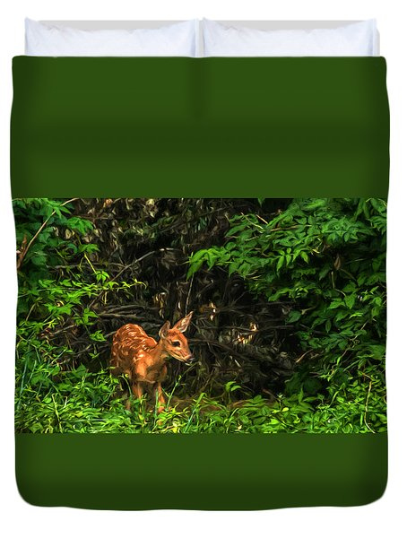 Duvet Cover featuring the photograph August Fawn by Trey Foerster
