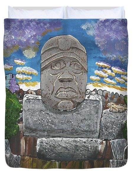 August  Olmec Head Duvet Cover