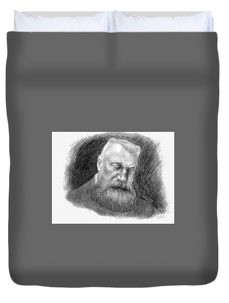 Duvet Cover featuring the digital art Auguste Rodin by Antonio Romero