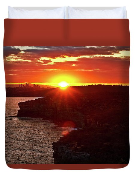 August Sunset From North Head Duvet Cover