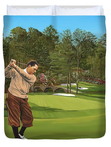 Augusta 11 And 12th Hole Bobbyjones Duvet Cover by Tim Gilliland
