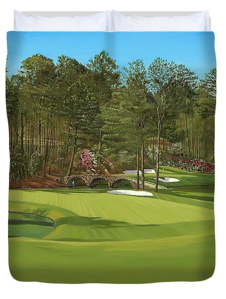 Augusta 11 And12th Hole Duvet Cover by Tim Gilliland
