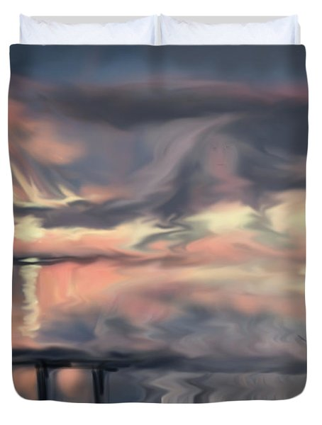Duvet Cover featuring the painting Aunt Jo by Jean Pacheco Ravinski