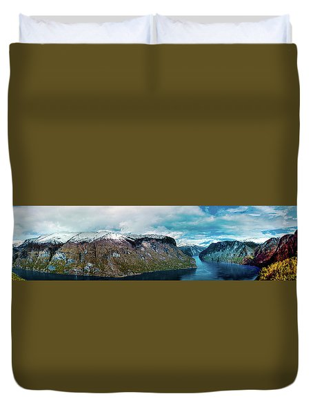 Aurlandsfjorden Panorama Revisited Duvet Cover