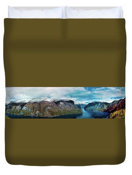 Aurlandsfjorden Panorama Revisited Duvet Cover