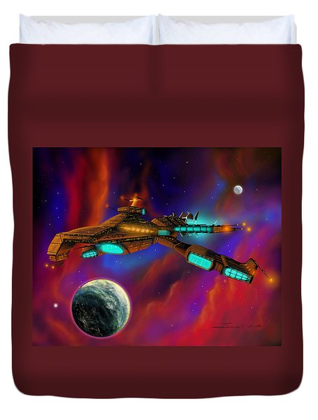 Duvet Cover featuring the painting Auroborus 2015 by James Christopher Hill