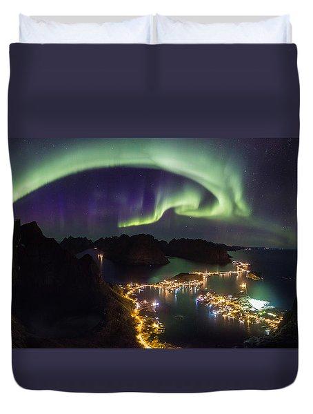 Aurora Above Reine Duvet Cover