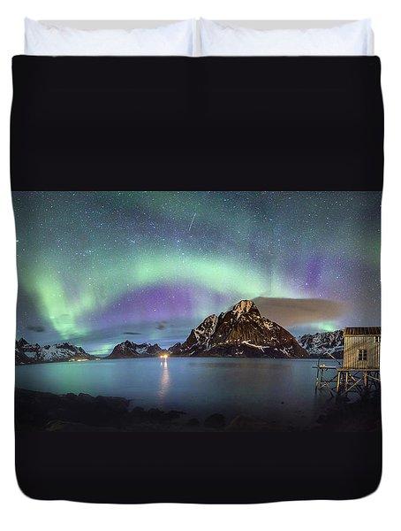 Aurora Above Reinefjord Duvet Cover