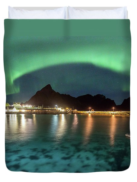 Aurora Above Turquoise Waters Duvet Cover by Alex Conu