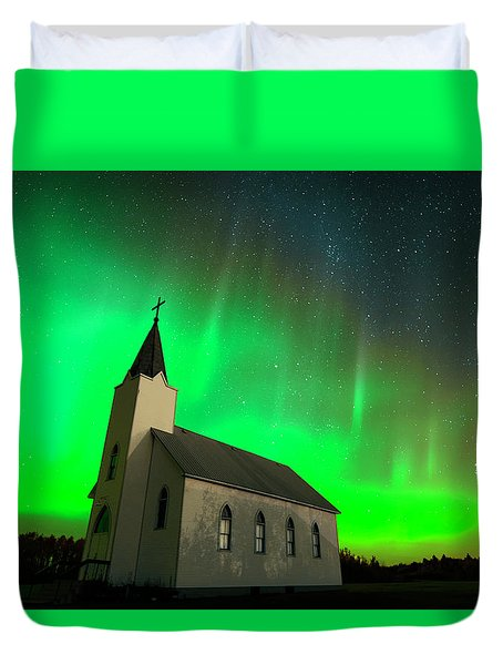 Aurora And Country Church Duvet Cover