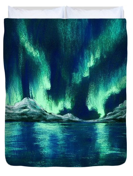 Duvet Cover featuring the pastel Aurora Borealis by Anastasiya Malakhova