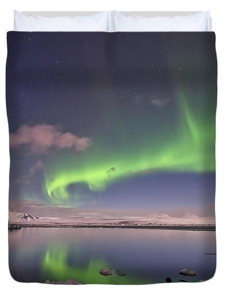 Aurora Borealis And Reflection #2 Duvet Cover