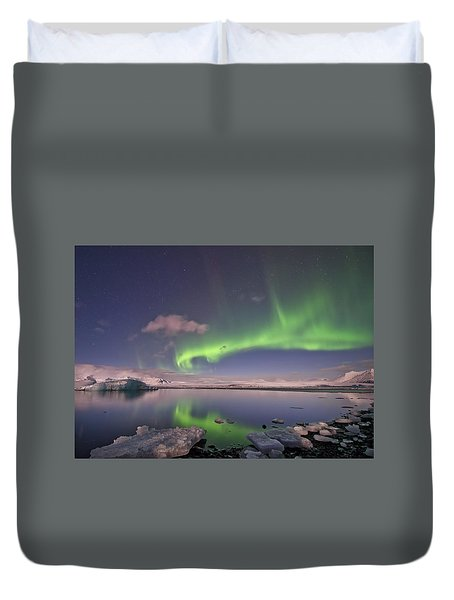 Duvet Cover featuring the photograph Aurora Borealis And Reflection #2 by Wanda Krack