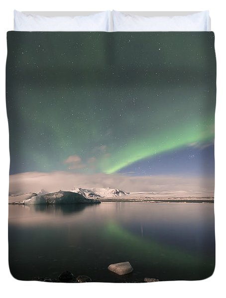 Aurora Borealis And Reflection Duvet Cover