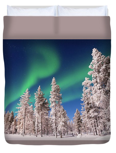 Duvet Cover featuring the photograph Aurora Borealis by Delphimages Photo Creations