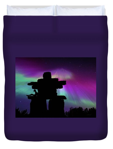 Aurora Borealis - Inukshuk - Northern Lights  Duvet Cover by Andrea Kollo
