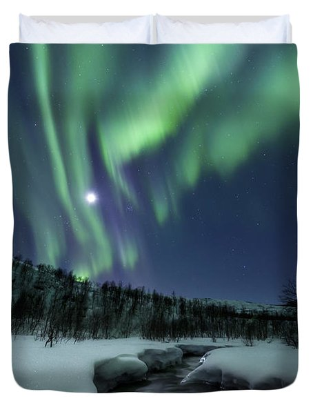 Duvet Cover featuring the photograph Aurora Borealis Over Blafjellelva River by Arild Heitmann